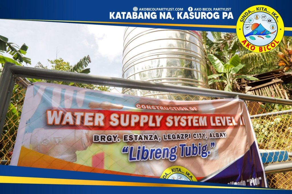 Pinasinayaan ngayon, Setyembre 9, 2021, ang tatlong Water Supply System Level II sa ilang barangay sa lungsod ng Legazpi sa pangunguna ni Ako Bicol Congressman Alfredo A. Garbin, Jr..  Huling pinasinayaan ngayong araw ng Ako Bicol ang Water System sa barangay Estanza, Legazpi City.